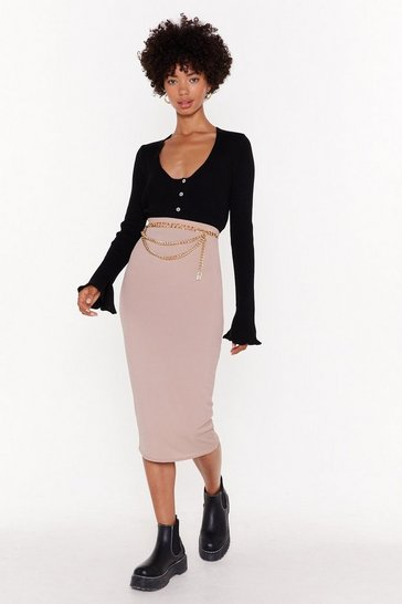 Womens Sand Tight for This Love Midi Skirt