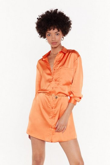 Womens Coral Smooth Operator Satin Shirt Dress