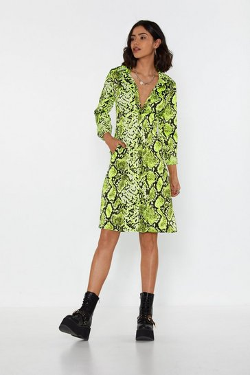 Womens I Lime It Like That Snake Shirt Dress