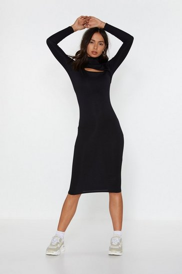 Womens Black Cut It Out Turtleneck Midi Dress