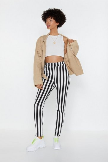 Womens Black Line Your Pockets Striped Leggings