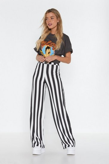 Black Stripe Tease Oversized Pants
