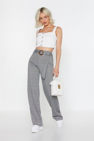 Grey Check Jersey Wide Leg Pants