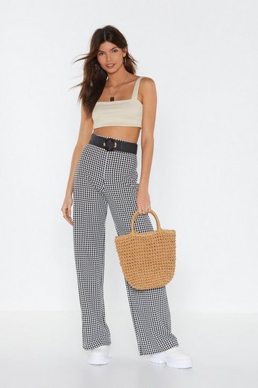 Womens Black Love Bites Houndstooth Wide-Leg Pants