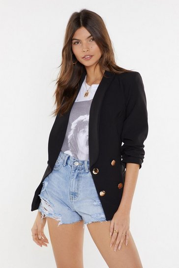 Womens Black Stop At Nothing Double Breasted Blazer