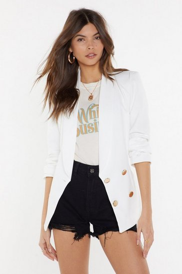 Womens White Stop At Nothing Double Breasted Blazer