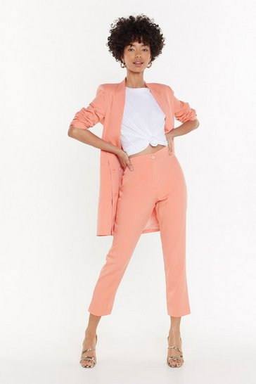 Womens Peach Out of Office Tapered Trousers