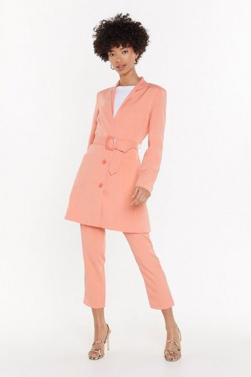 Womens Peach Out of Office Belted Longline Blazer