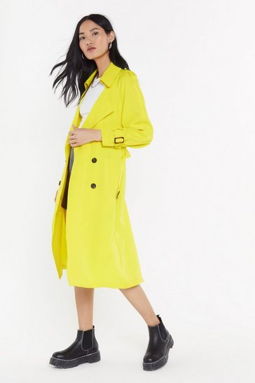 Womens Yellow Bright of Way Belted Tench Coat