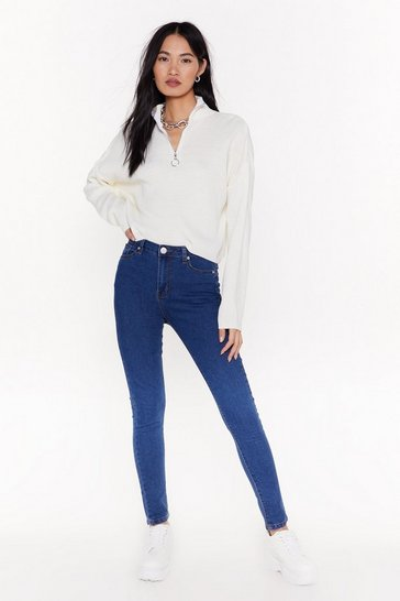 Womens Mid blue Treat 'Em Tight High-Waisted Skinny Jeans