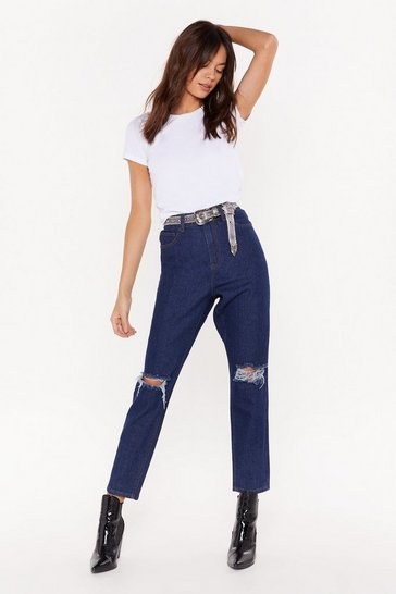 Womens Dark blue Leave 'Em On Their Knees Ripped Mom Jeans