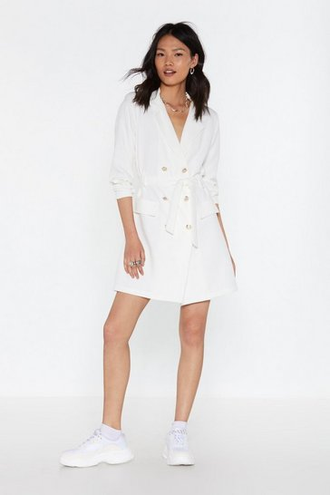 Womens White Suits You Double Breasted Blazer Dress