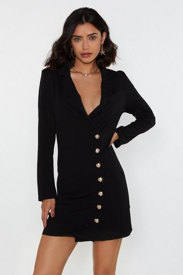 Womens Black Side Button Blazer Dress