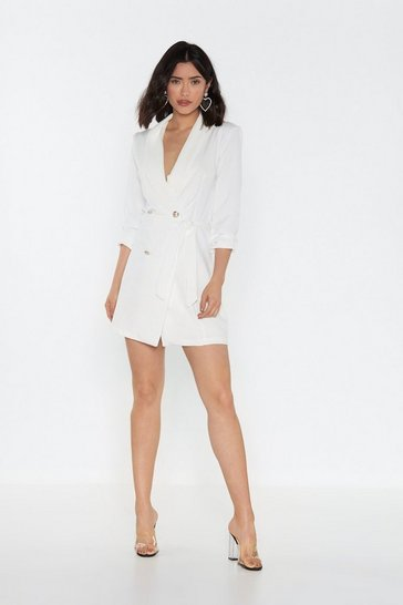 Womens White No Tux Given Mini Blazer Dress