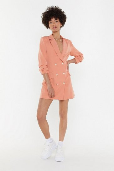 Womens Peach Own It Double Breasted Blazer Dress
