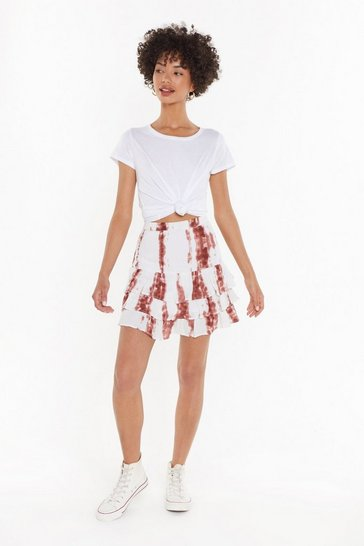 Womens Brown Tie Dye Cheesecloth Layered Mini Skirt