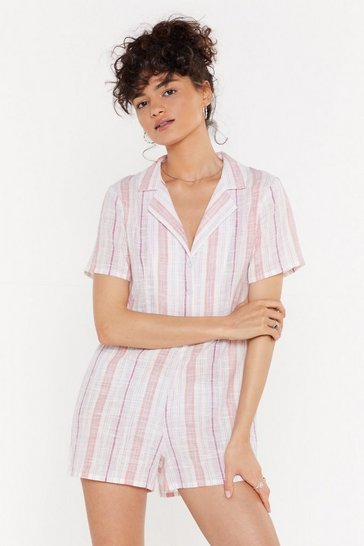 White My Guiding Stripe Shirt Romper