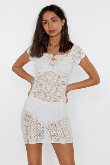 White Pointelle Off-Shoulder Bodycon Dress