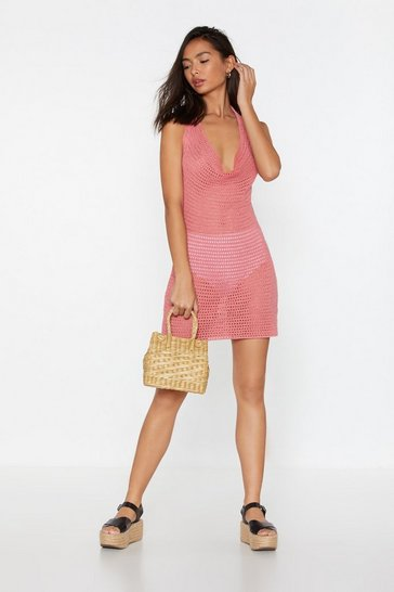 Womens Coral Pointelle Crochet Halterneck Dress