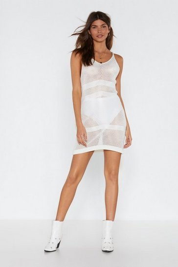 Womens White Get Your Net's in Crochet Mini Dress