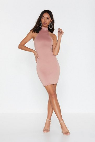 Womens Dusky pink Our Confidence Never Halters Mini Dress
