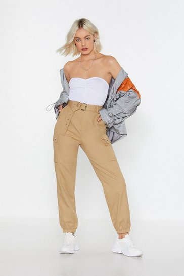 Womens Sage Cargo Belted Trousers