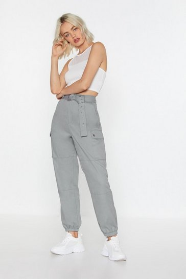 Womens Blue Cargo Belted Trousers