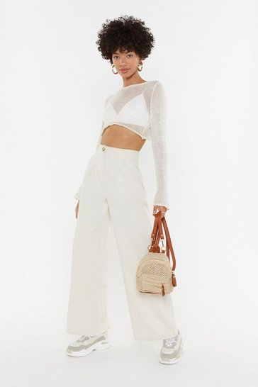 Ecru High Waisted Linen Pants With Wide Legs
