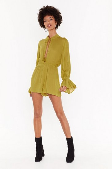 Womens Olive Flare I Wanna Be Flared Sleeve Romper