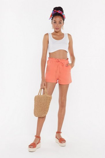 Womens Coral Elasticated Waist Linen Shorts
