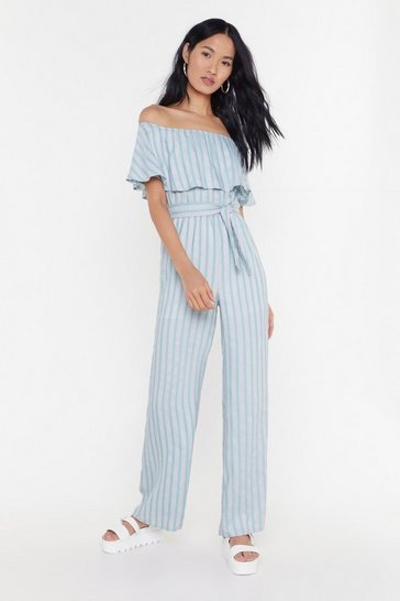 Womens Sage Do the Striped Thing Off-the-Shoulder Tie Jumpsuit