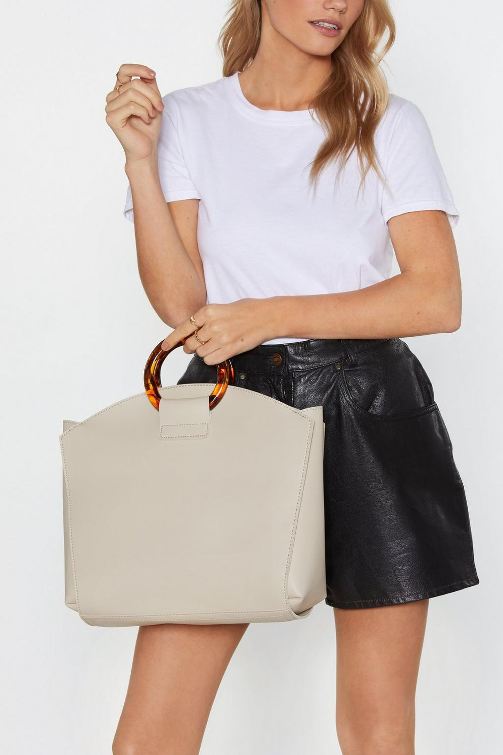 Want Tote Ally Rad Tortoiseshell Handle Bag by Nasty Gal
