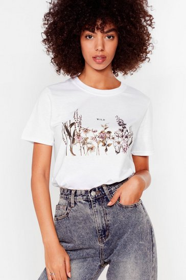 Womens White Wild Floral Graphic Tee