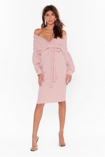 Womens Rose Good All Around Wrap Plus Dress