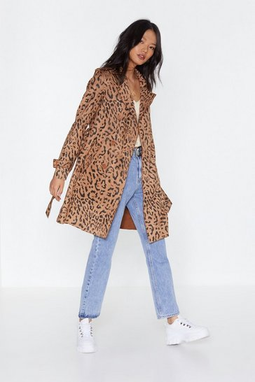 Womens Camel That Went Fast Leopard Trench Coat