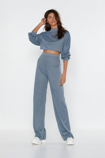 Ensemble côtelé sweat court & pantalon large On revient aux bases, Bleu