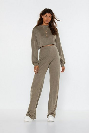 Ensemble côtelé sweat court & pantalon large On revient aux bases, Brun