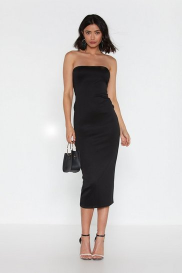 Womens Black Body Talk Strapless Midi Dress