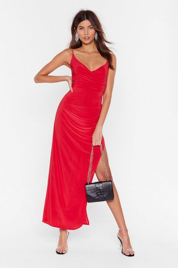 Red Hot Date Wrap Maxi Dress