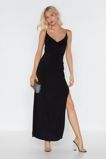 Womens Black Hot Date Wrap Maxi Dress