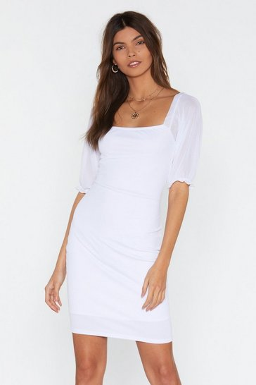 Womens White Sleeve Me Square Neck Mini Dress
