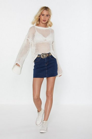Womens Dark blue Huh Hem Denim Mini Skirt