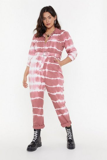 Womens Blush Denim Tie Dye Boilersuit