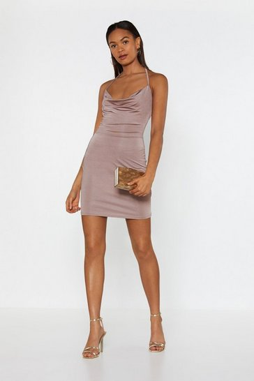 Womens Mauve Hot Stuff Cowl Mini Dress