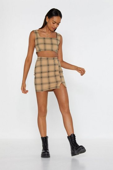 Womens Nude Don't Treat Me Plaid Crop Top and Skirt Set