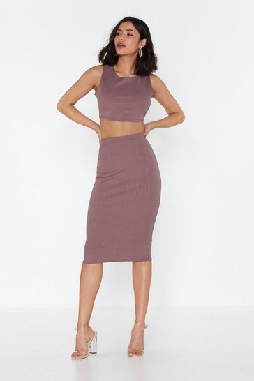Womens Mauve Without Line or Reason Top and Midi Skirt Set
