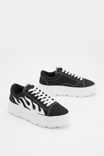 Black Platform Trainers with Platform Sole