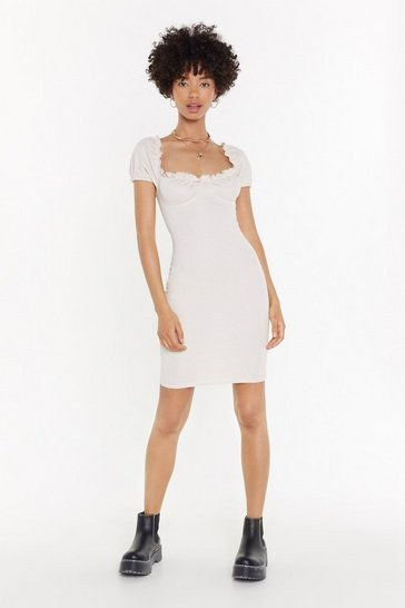 Womens Ivory What Are You Cup to Ruffle Dress