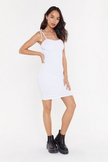 Womens White Never Gonna Give You Cupped Mini Dress