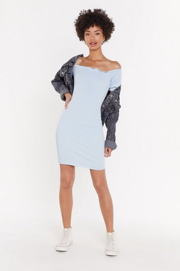 Womens Powder blue Overboard Off-the-Shoulder Mini Dress